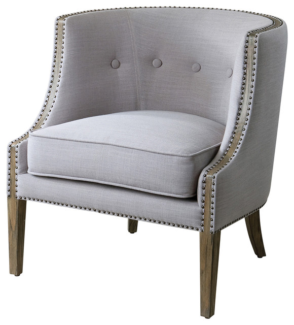Lyla Modern Classic Soft Gray Hammered Barrel Back Chair