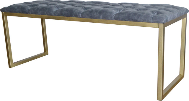 Avril Bonded Leather Bench, Vintage Midnight.
