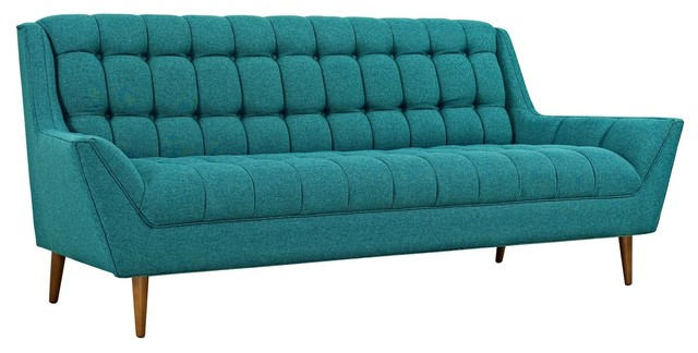 Response Upholstered Fabric Sofa, Teal.