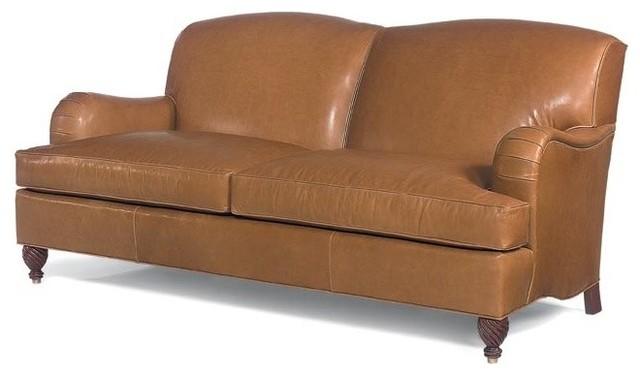 Pia English Arm Leather Sofa, Brown.