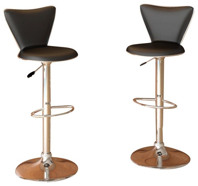 Sonax CorLiving Tall Back Bar Stools Black Leatherette Set Of 2 Transitional Stools