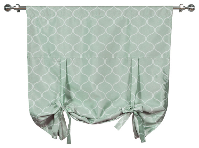 Faux Silk Quatrefoil Tie Up Shade With Blackout Lining