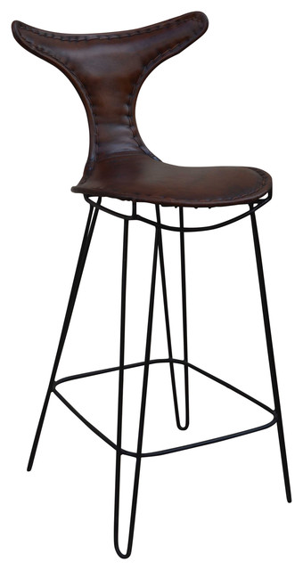 T Back Iron And Leather Bar Chair
