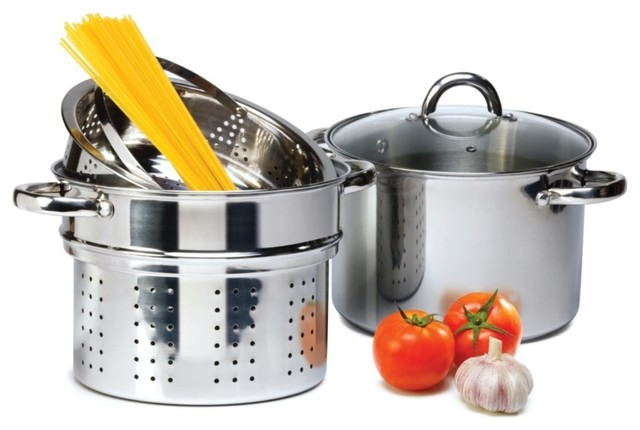 Stainless Steel 8 Qt Stockpot Set, 4-Piece Pasta Cooker With Steamer.