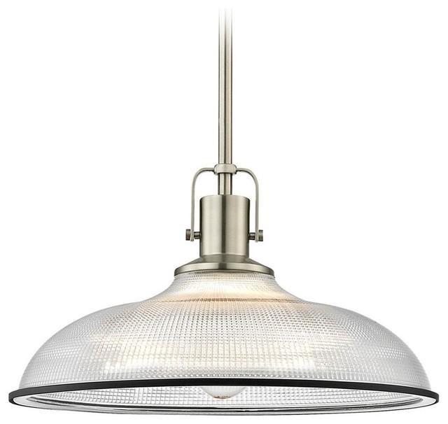 "Farmhouse Industrial Pendant Light Prismatic, 14.38"", Satin Nickel, Matte Black."