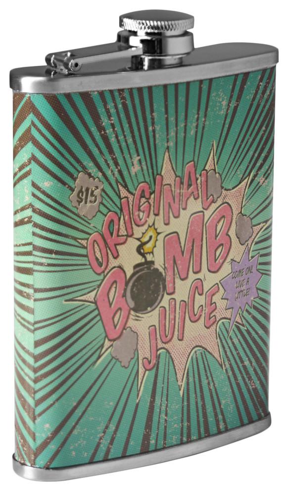 Original Bomb Juice Stainless Steel 8 Oz Liquor Flask By American Art Decor Inc