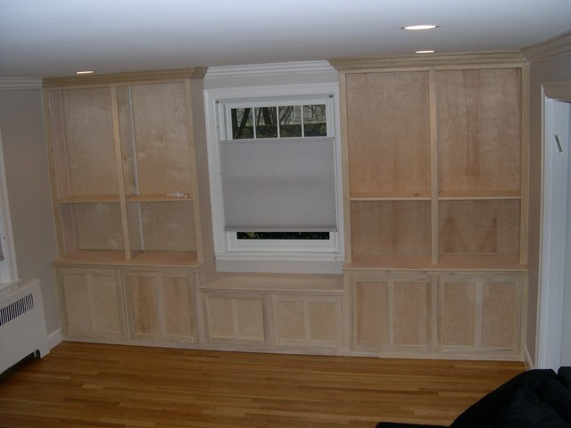 Window Seat With Built In Cabinets And Shelving Unfinished Traditional Living Room