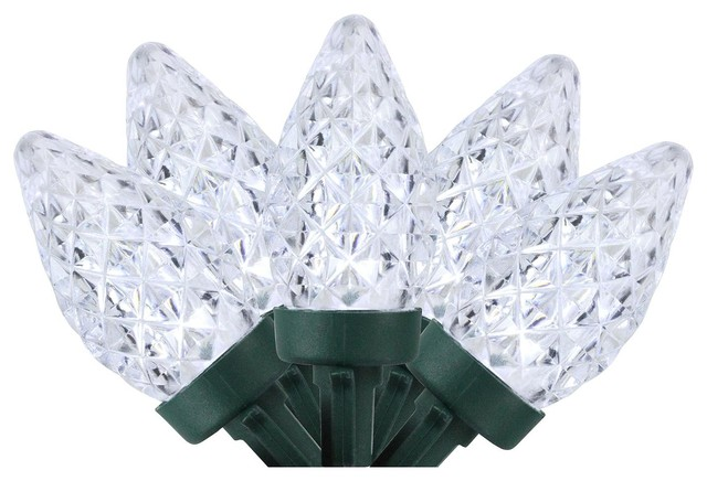 100 Pure White Faceted Led C7 Christmas Lights.
