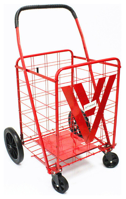 Athome Large Shopping Cart With Metal Frame Wheels