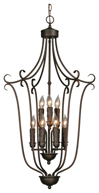 Multi-Family 2 Tier, 9-Light Caged Foyer, Rubbed Bronze.