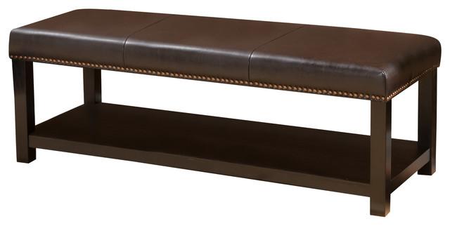 Carlney Contemporary Polyurethane Brown Ottoman Bench With Rack.