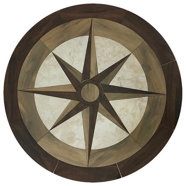 Medallions plus round waterjet porelain wood floor for Wood floor medallions