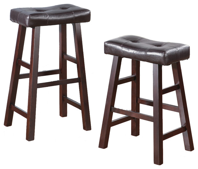Faux Leather Saddle Seat Stools Set of 2 Brown traditional bar stools
