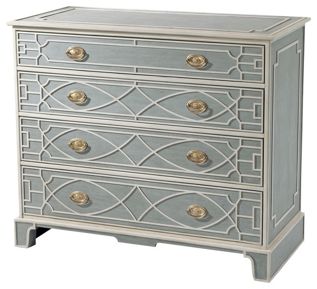 Chinese Chippendale Blind Fret Blue And White Pianted Chest.