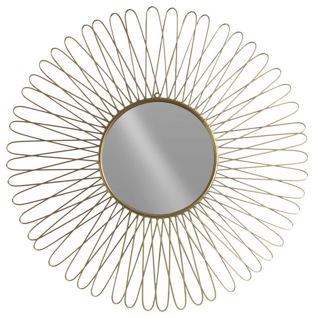 Round Metal Wall Mirror With Petal Design Frame Contemporary Wall Mirrors By Gwg Outlet