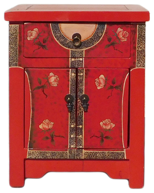 Chinese Red Oriental Dress Graphic End Table Nightstand Hcs1308  Asian Nightstands And Bedside