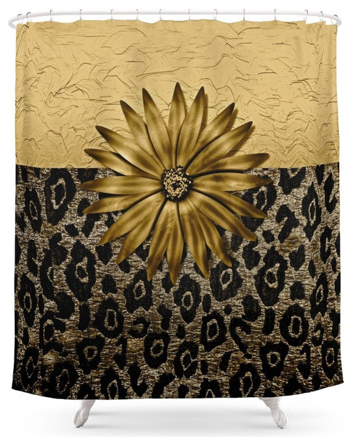 Society6 Animal Print Brown And Gold Animal Medallion Shower Curtain Contem
