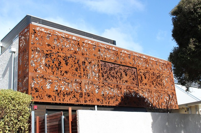 Corten Laser Cut Screens On Facade Melbourne By Pierre Le Roux