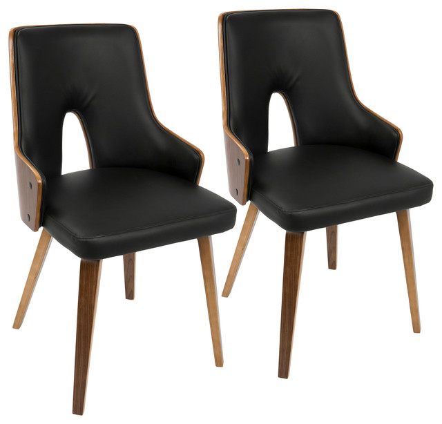 LumiSource Stella Dining Chair, Walnut and Black PU, Set of 2