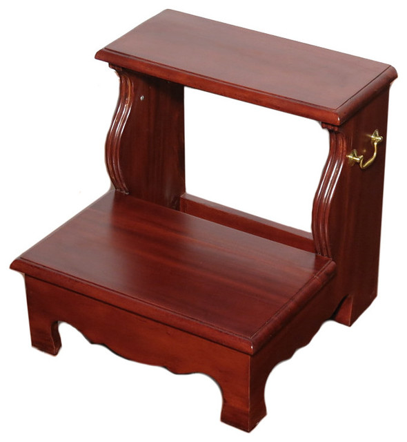 Cherry 2-Step Bedside Office Library Bed Step Stool