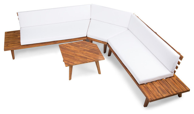 GDF Studio 4-Piece Hillside Outdoor V Shaped Sectional Sofa Set, Sandblast/White