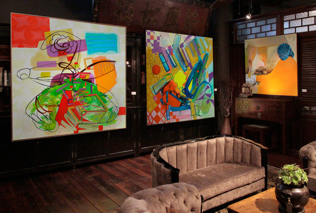 Installation View Of Large Scale Abstract Oil Paintings Contemporary Living Room