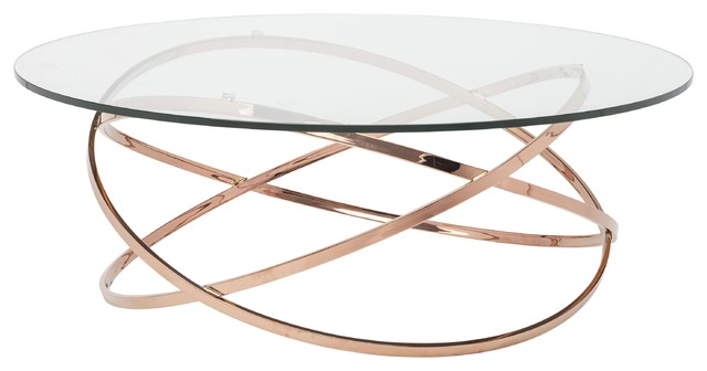rose gold coffee table Savannah Modern Classic Rose Gold Glass Coffee Table   Modern  rose gold coffee table