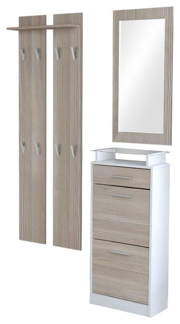 Modern Furniture Wardrobe Set, MDF With Shoe Cabinet Wardrobe Panel and Mirror