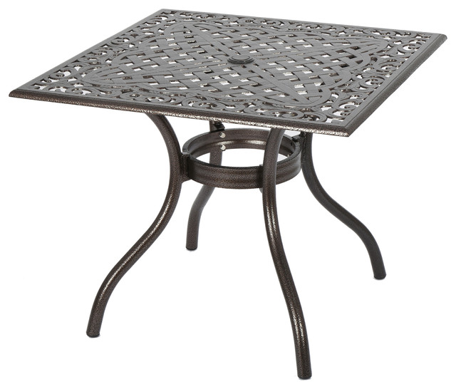 Monteria Bronze Cast Aluminum Square Table Contemporary Outdoor Coffee Tables By Gdfstudio