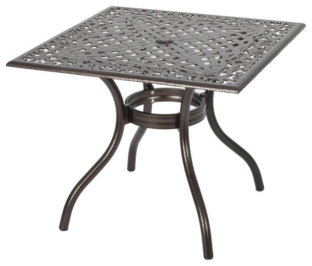Monteria Bronze Cast Aluminum Square Table.