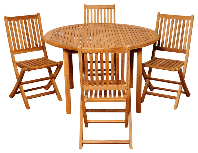 Adam 5-Piece Teak Round Patio Dining Set.
