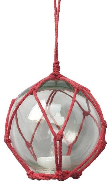 led lighted clear japanese glass ball fishing float with red netting christmas