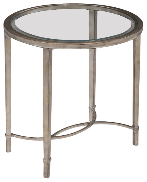 magnussen copia end table in antique silver - transitional - side