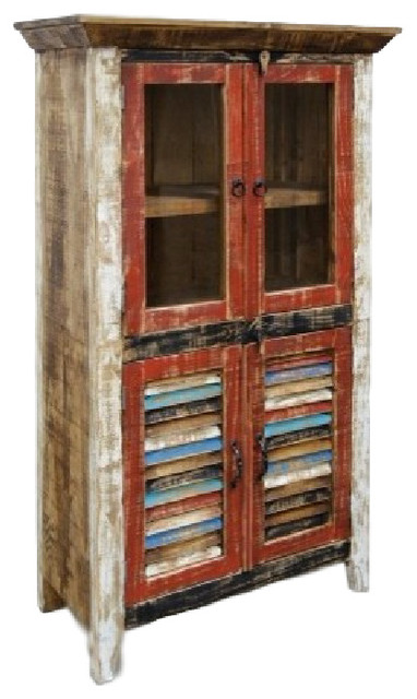Rustic Distressed Reclaimed Wood Curio, Glass Cabinet - Beach ...