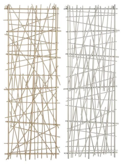 Modern Rectangular Metal Wall Decor, 2-Piece Set.