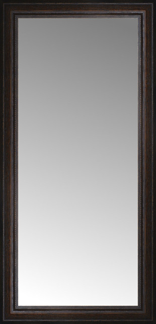 18 X36 Custom Framed Mirror Distressed Brown