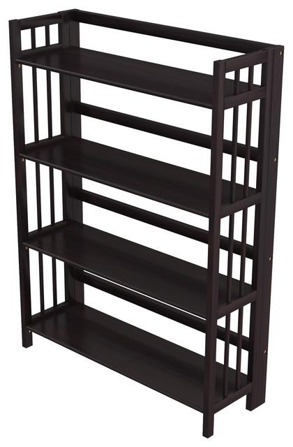 "Stony Edge Folding Bookcase, 4 Shelves, 32"", Espresso Color."