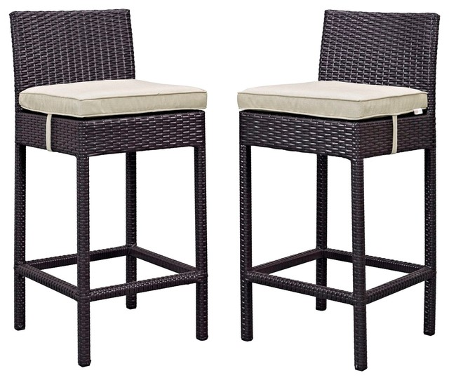 Set of 2 BOWERY HILL Patio Bar Stool in Chocolate