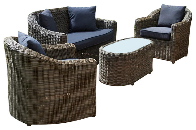 Mayfair Outdoor Sofa With 2 Lounge Armchairs and Oval Coffee Table Set