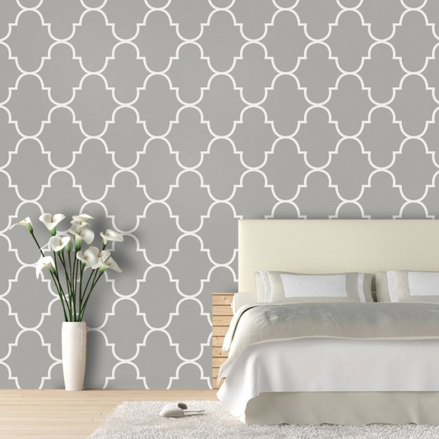 "Classic Trellis Wallpaper, Silly Putty, 25""x4.5&x27;."