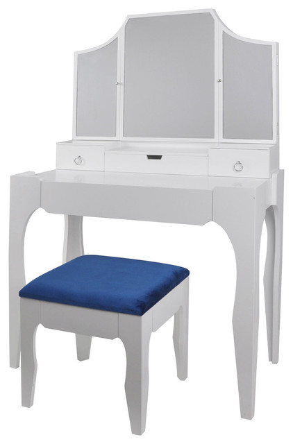 3 Piece Desk, Vanity and Bench Set, Gloss White Finish, Royal Blue Fabric