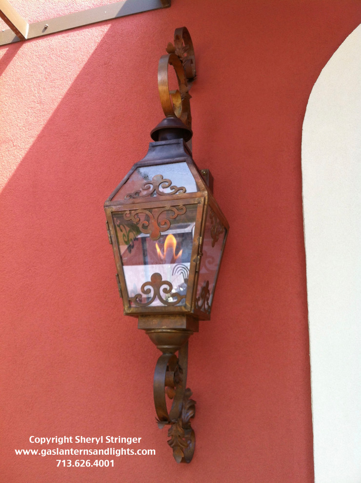 Sheryl's French Chateau Natural Gas Lantern with Natural Copper Finish