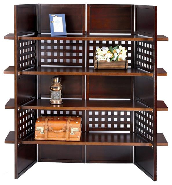 [s]4-Panel Book Shelves Walnut Finish Room Divider By O.r.e..