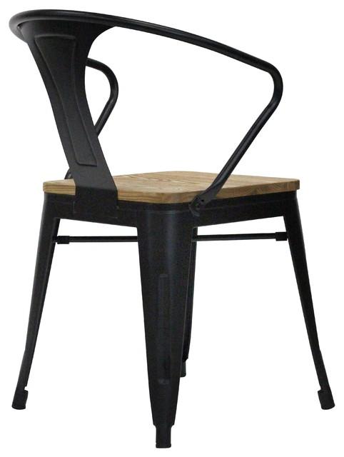 Split Matte Black Dining Chairs, Set of 2