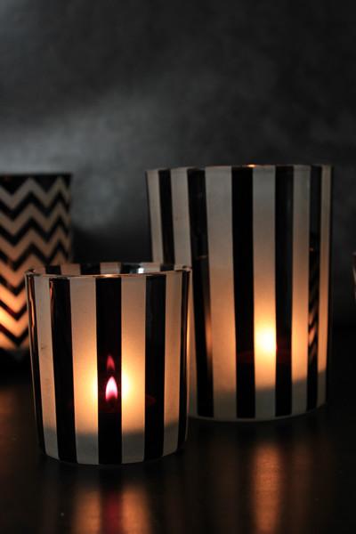 harlequin black white tea light holders stripes