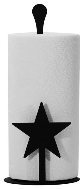 Village Wrought Iron Paper Towel Holder, Star Design.