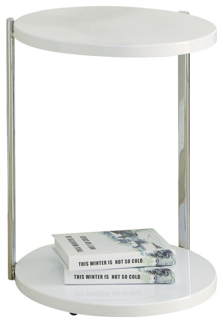 Modern Contemporary Style White Chrome Metal Table Home Furniture I3056.