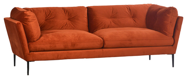Midcentury Orange Velvet Sofa