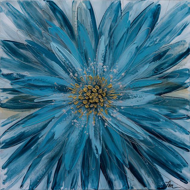 """""""Blue Daisy"""" Hand Painted Floral Canvas Artwork; Fine Art; Modern Art"""
