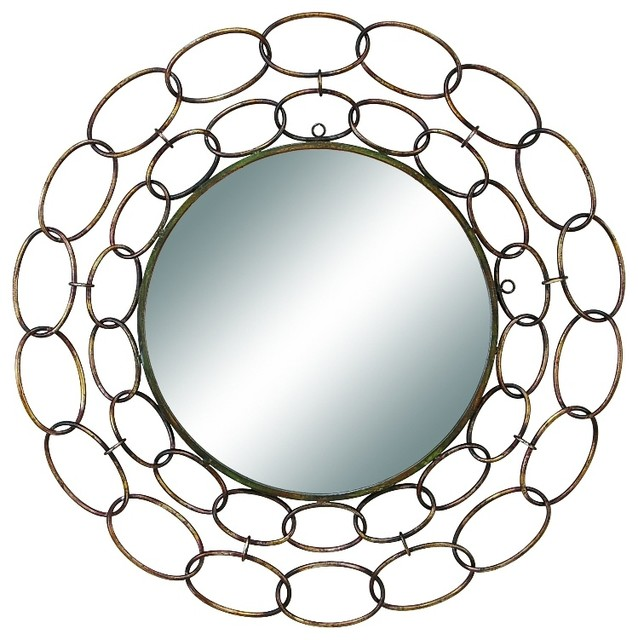 "Metal Circle Wall Decor 35"" diameter metal mirror excellent anytime wall decor upgrade"